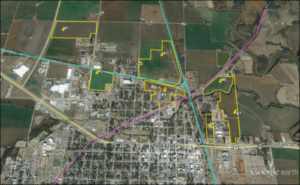 Eligible sites for the New Market Tax Credit in Chickasha (outlined in yellow).